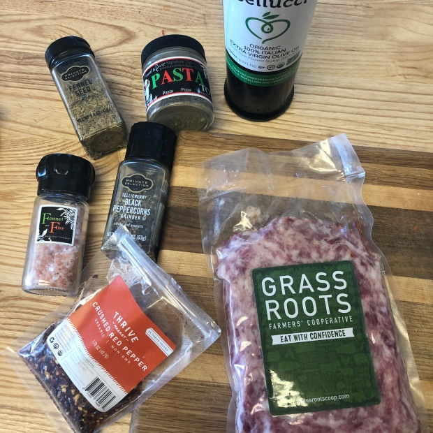 Ingredients needed to make the Spicy Italian Sauage